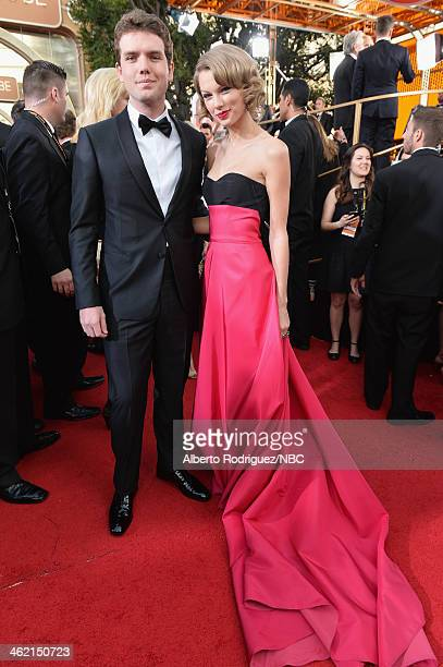 71st ANNUAL GOLDEN GLOBE AWARDS Pictured Austin Swift and singer Taylor Swift arrive to the 71st Annual Golden Globe Awards held at the Beverly...