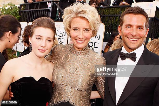 71st ANNUAL GOLDEN GLOBE AWARDS Pictured Gaia Romilly Wise actress Emma Thompson and actor Bradley Cooper arrive to the 71st Annual Golden Globe...