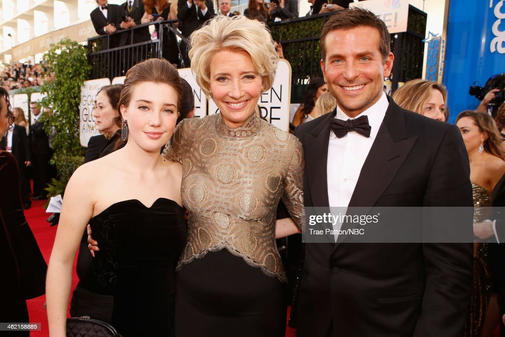71st ANNUAL GOLDEN GLOBE AWARDS -- Pictured: (l-r) Gaia Romilly Wise, actress Emma Thompson and actor Bradley Cooper arrive to the 71st Annual Golden Globe Awards held at the Beverly Hilton Hotel on January 12, 2014 --