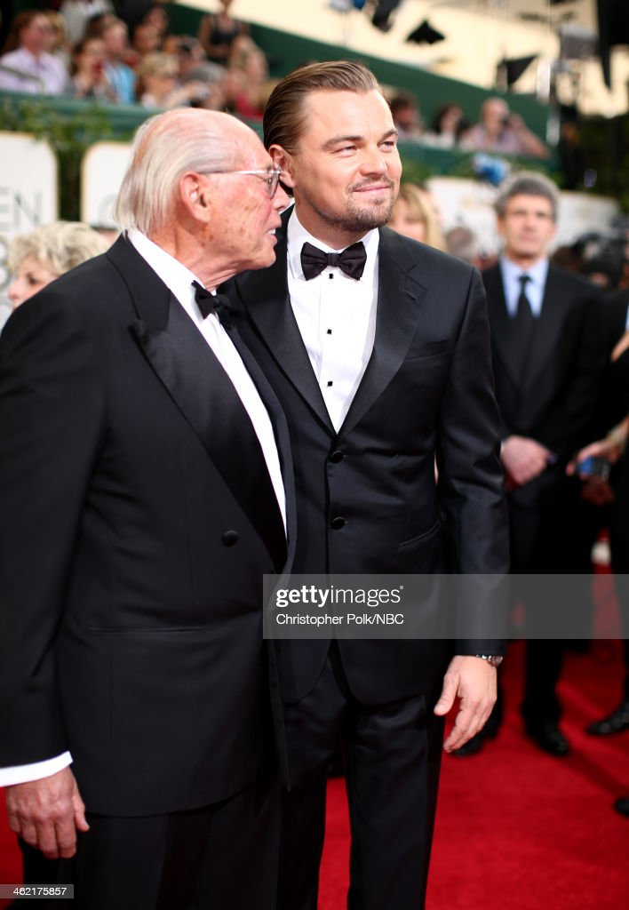 71st ANNUAL GOLDEN GLOBE AWARDS -- Pictured: (l-r) Producer Irwin Winkler and actor Leonardo DiCaprio arrive to the 71st Annual Golden Globe Awards held at the Beverly Hilton Hotel on January 12, 2014 --