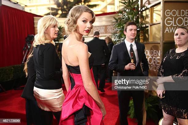 71st ANNUAL GOLDEN GLOBE AWARDS Pictured Singer Taylor Swift arrives to the 71st Annual Golden Globe Awards held at the Beverly Hilton Hotel on...