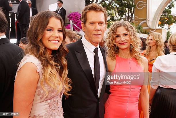 71st ANNUAL GOLDEN GLOBE AWARDS Pictured Sosie Bacon actors Kevin Bacon and Kyra Sedgwick arrive to the 71st Annual Golden Globe Awards held at the...