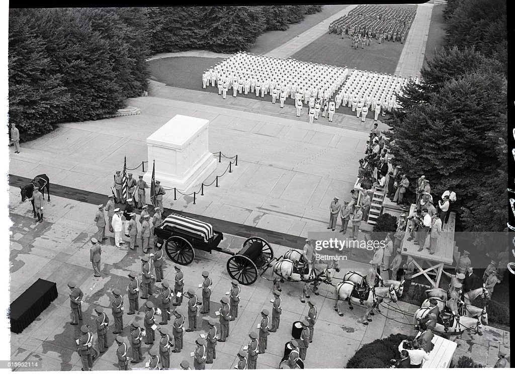 This aerial photo shows the casket bearing the body of the