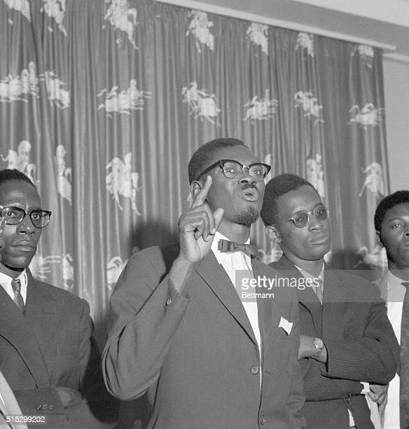 7/20/1960Leopoldville The Congo Congo Premier Patrice Lumumba gestures with his hand during a press conference at the former Belgian Governor's house...
