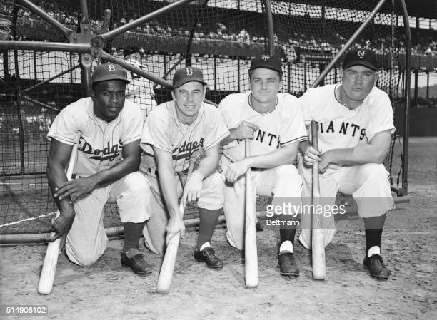 7/2/1949New York NY Four National League players who will take part in the AllStar game at Ebbets Field on July 12th line up before the DodgersGiants...