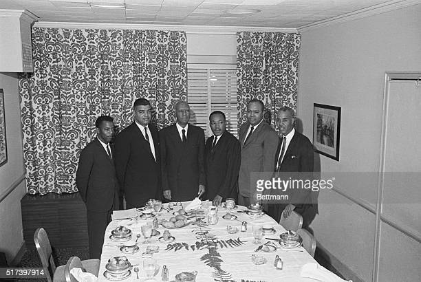 Leaders of six national Negro organizations arrive at Hotel Commodore where they will plan a nationwide campaign in support of President Kennedy's...