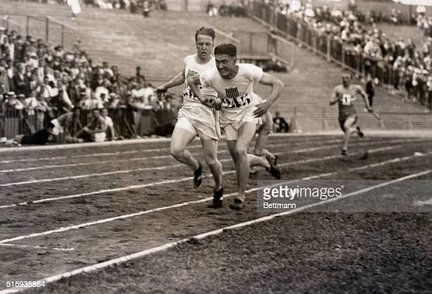 7/22/1924Paris France Here is an exceptionally fine action picture made during the running of the 400meter relay race in which the American quartet...