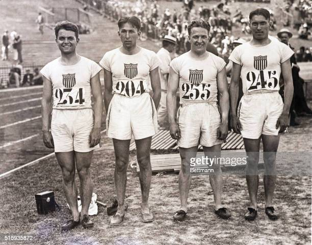 7/22/1924Paris France Members of the American 400meter relay team which established a new world record of 41 1/5 seconds for the event pose at...