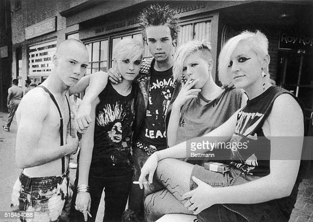 7/22/1985Washington DC Hardcore punks who congregate at the Georgetown Roy Rogers fastfood restaurant snub their noses at the nouveau chic invading...