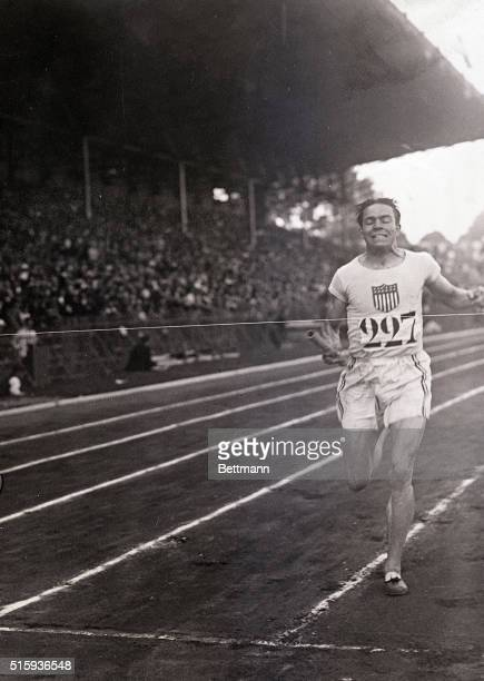 7/23/1924Paris France Leconey US finishing final 400meter relay race in which the American team broke its own world's record of the day before by...
