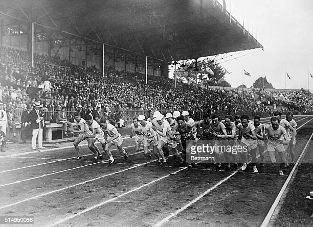 7/23/1924Paris France Start of the 3000 meter Olympic team race Willie Ritola of Finland is shown on the front line second from right