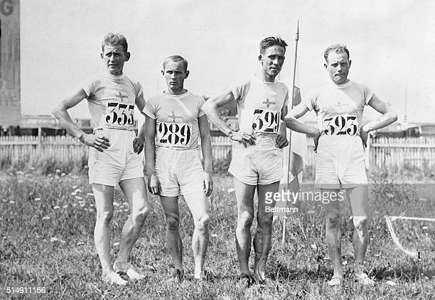 7/23/1924Paris France The victorious Finnish team poses before the start of the Olympic crosscountry race Pictured are VJ Sipila EE Berg V Ritola who...