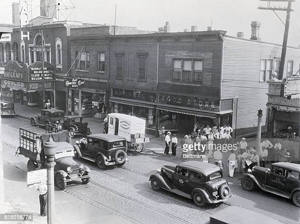 7/24/1934Chicago IL A daylight view of the scene of the killing of John Dillinger in Chicago He had attended a movie in the theatre at the left when...