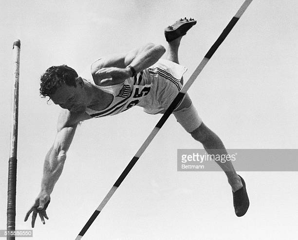 7/24/1952Helsinki Finland The Rev Bob Richards of the US team eases over the bar to set a new record for the Olympics pole vault Richards made 14...
