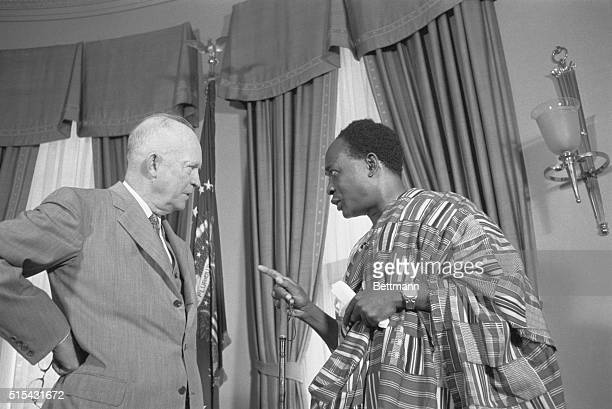 Washington, D.C.- Prime Minister Kwame Nkrumah of Ghana shown during his White House visit with President Eisenhower today. He later told newsmen...
