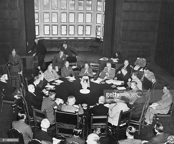 7/24/45Potsdam Germany The big three conference opens in a room of the palace at Potsdam Germany President Harry S Truman is seated with back to...