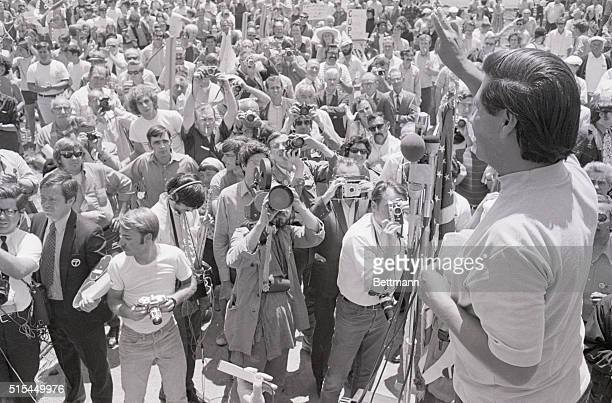 7/25/1970San Rafael CA Cesar Chavez director of the United Farm Workers Organizing Committee gives victory sign to over one thousand members of...
