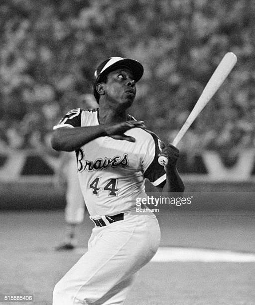 7/25/72Atlanta Georgia Hank Aaron Atlanta Braves watches the ball land foul during the AllStar game In the sixth inning Aaron hit a tworun homer to...