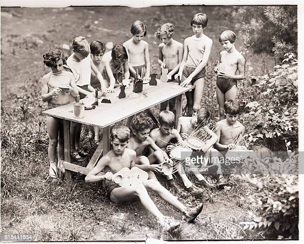 7/29/1928Middleton MA THRIVING UNDER THE RAYS OF OLD SOL At the Essex County Health Farm at Middleton MA these children boys and girls are allowed to...