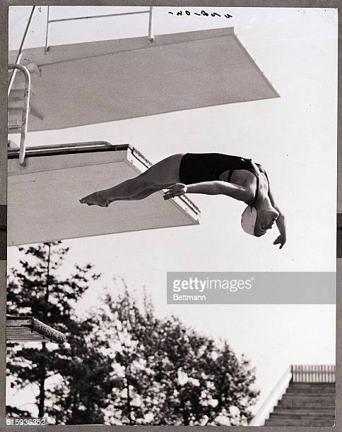 7/29/1952Helsinki Finland 1952 SUMMER OLYMPICS Carol H Frick of the USA is shown during the springboard diving at the Olympic swimming pool here