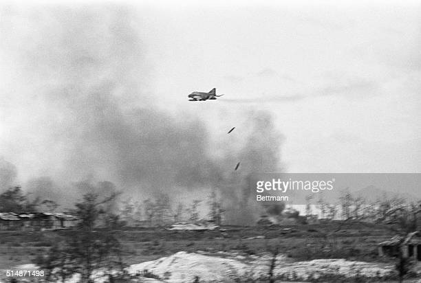 7/29/1972Quang Tri City South Vietnam A US Phantom Jet Fighter drops napalm on a North Vietnamese stronghold in Quang Tri City Fighting in and around...