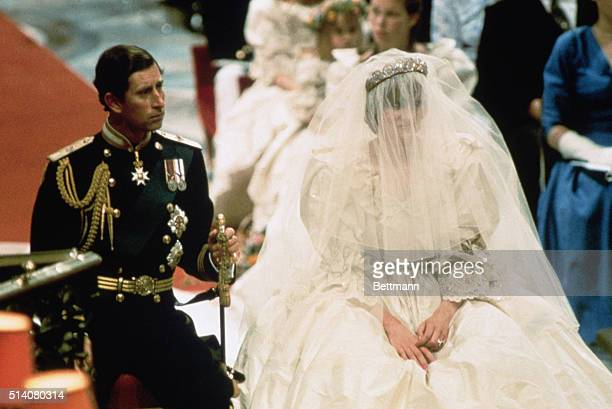 London, England-ORIGINAL CAPTION READS: Photo of Prince Charles and Lady Diana Spencer, shown seated during their wedding ceremony. BPA2# 6056