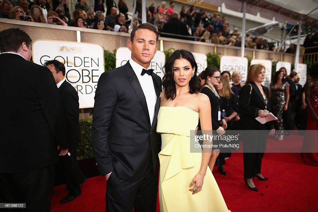 72nd ANNUAL GOLDEN GLOBE AWARDS -- Pictured: (l-r) Actor Channing Tatum and actress Jenna Dewan arrive to the 72nd Annual Golden Globe Awards held at the Beverly Hilton Hotel on January 11, 2015.