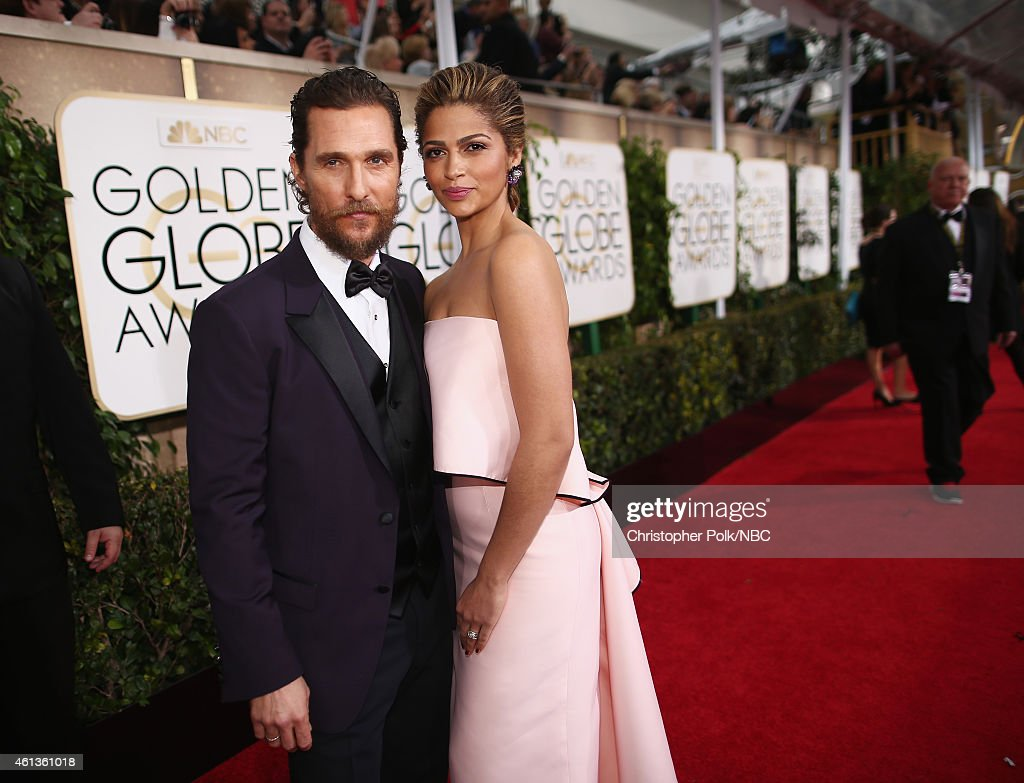 72nd ANNUAL GOLDEN GLOBE AWARDS -- Pictured: (l-r) Actor Matthew McConaughey and model Camila Alves arrive to the 72nd Annual Golden Globe Awards held at the Beverly Hilton Hotel on January 11, 2015.