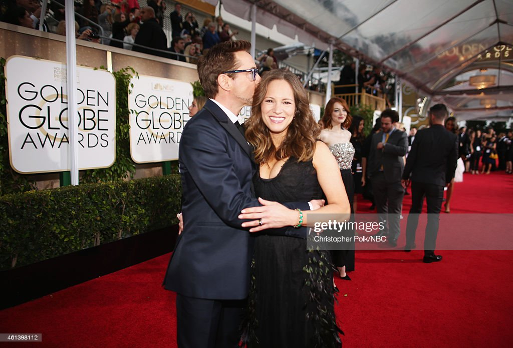 72nd ANNUAL GOLDEN GLOBE AWARDS -- Pictured: (l-r) Actor Robert Downey Jr. and Susan Downey arrive to the 72nd Annual Golden Globe Awards held at the Beverly Hilton Hotel on January 11, 2015.
