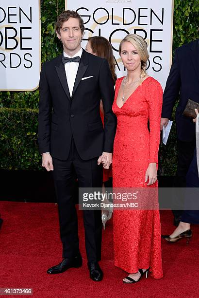 72nd ANNUAL GOLDEN GLOBE AWARDS Pictured Actor Thomas Middleditch and Mollie Gates arrive to the 72nd Annual Golden Globe Awards held at the Beverly...