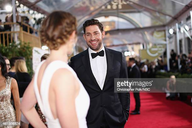 72nd ANNUAL GOLDEN GLOBE AWARDS -- Pictured: Actors Emily Blunt and John Krasinski arrive to the 72nd Annual Golden Globe Awards held at the Beverly...