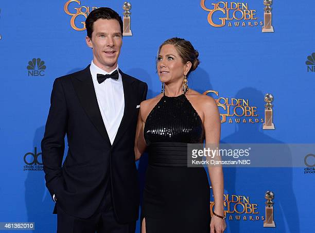 72nd ANNUAL GOLDEN GLOBE AWARDS -- Pictured: Actotrs Benedict Cumberbatch and Jennifer Anistonin pose in the press room at the 72nd Annual Golden...