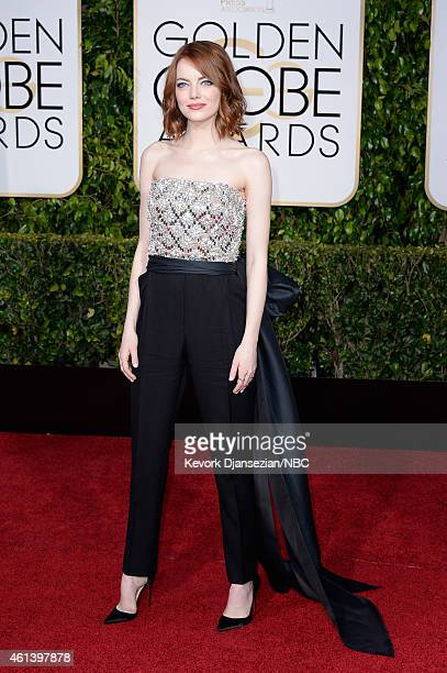 72nd ANNUAL GOLDEN GLOBE AWARDS -- Pictured: Actress Emma Stone arrives to the 72nd Annual Golden Globe Awards held at the Beverly Hilton Hotel on...