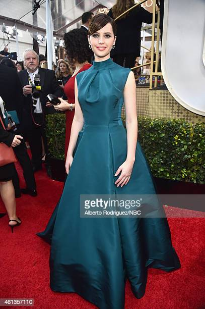 72nd ANNUAL GOLDEN GLOBE AWARDS -- Pictured: Actress Felicity Jones arrives to the 72nd Annual Golden Globe Awards held at the Beverly Hilton Hotel...