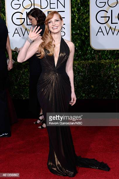 72nd ANNUAL GOLDEN GLOBE AWARDS Pictured Actress Jessica Chastain arrives to the 72nd Annual Golden Globe Awards held at the Beverly Hilton Hotel on...
