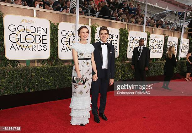 72nd ANNUAL GOLDEN GLOBE AWARDS Pictured Actress Keira Knightley and musician James Righton arrive to the 72nd Annual Golden Globe Awards held at the...