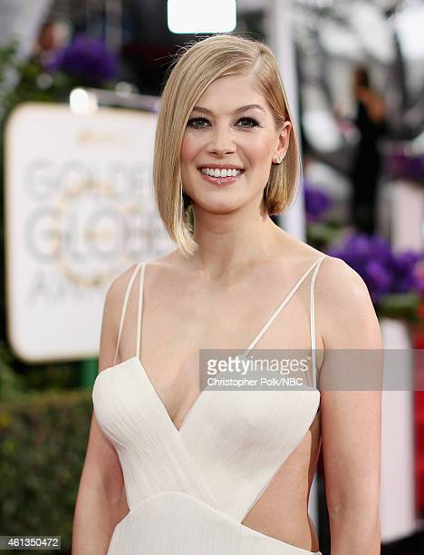 72nd ANNUAL GOLDEN GLOBE AWARDS Pictured Actress Rosamund Pike arrives to the 72nd Annual Golden Globe Awards held at the Beverly Hilton Hotel on...
