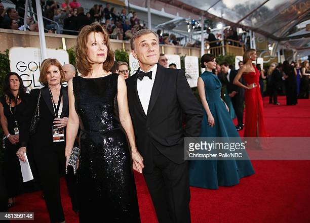 72nd ANNUAL GOLDEN GLOBE AWARDS Pictured Costume designer Judith Holste and actor Christoph Waltz arrive to the 72nd Annual Golden Globe Awards held...