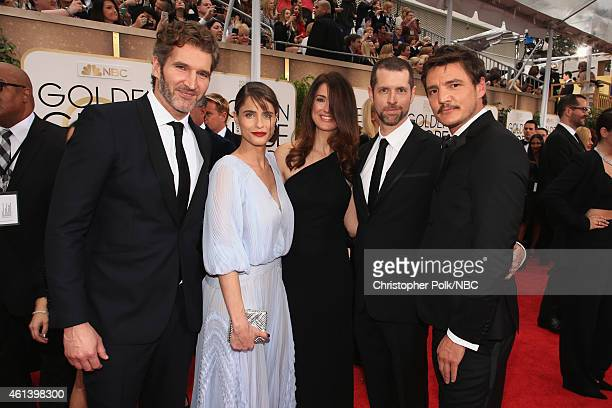 72nd ANNUAL GOLDEN GLOBE AWARDS Pictured Executive producer David Benioff actress Amanda Peet writer Andrea Troyer executive producer DB Weiss and...