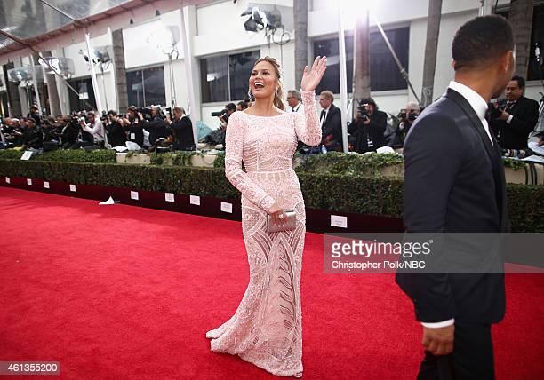 72nd ANNUAL GOLDEN GLOBE AWARDS -- Pictured: Model Chrissy Teigen and recording artist John Legend arrive to the 72nd Annual Golden Globe Awards held...