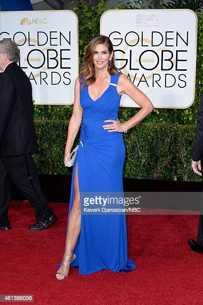 72nd ANNUAL GOLDEN GLOBE AWARDS -- Pictured: Model Cindy Crawford arrives to the 72nd Annual Golden Globe Awards held at the Beverly Hilton Hotel on...