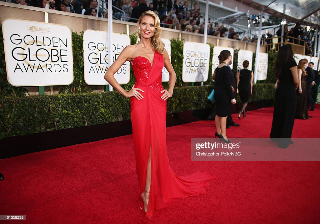 72nd ANNUAL GOLDEN GLOBE AWARDS -- Pictured: Model/TV personality Heidi Klum arrives to the 72nd Annual Golden Globe Awards held at the Beverly Hilton Hotel on January 11, 2015.