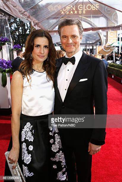 72nd ANNUAL GOLDEN GLOBE AWARDS Pictured Producer Livia Giuggioli and actor Colin Firth arrive to the 72nd Annual Golden Globe Awards held at the...
