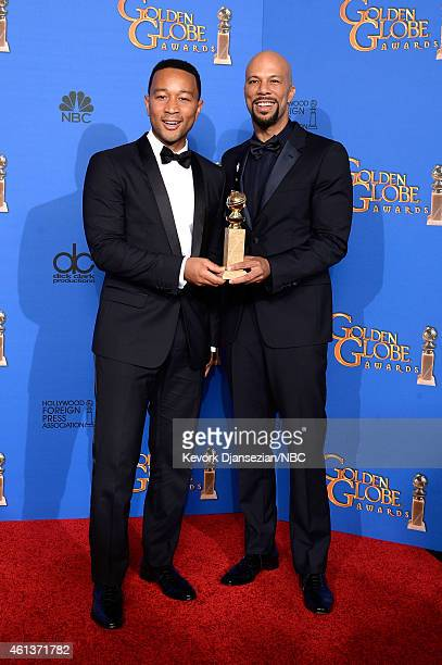 72nd ANNUAL GOLDEN GLOBE AWARDS Pictured Recording artist John Legend and recording artist/actor Common winners of Best Original Song 'Glory' for the...