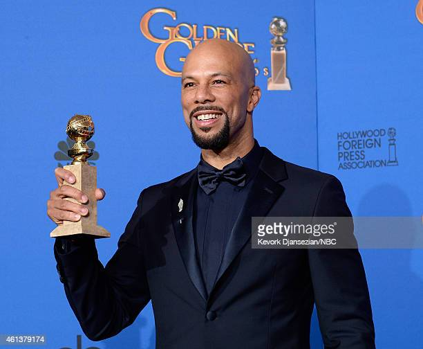 72nd ANNUAL GOLDEN GLOBE AWARDS Pictured Recording artist/actor Common winner of the Best Original Song 'Glory' from the Motion Picture 'Selma' poses...