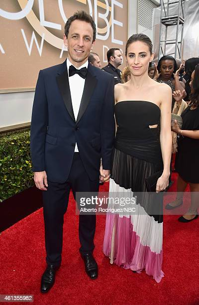 72nd ANNUAL GOLDEN GLOBE AWARDS Pictured TV personality Seth Meyers and Alexi Ashe arrive to the 72nd Annual Golden Globe Awards held at the Beverly...