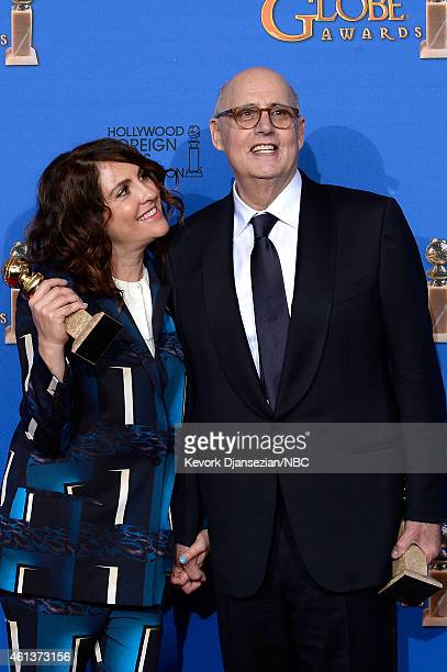 72nd ANNUAL GOLDEN GLOBE AWARDS Pictured Writer/producer Jill Soloway winner of Best TV Series Musical or Comedy for 'Transparent' and actor Jeffrey...