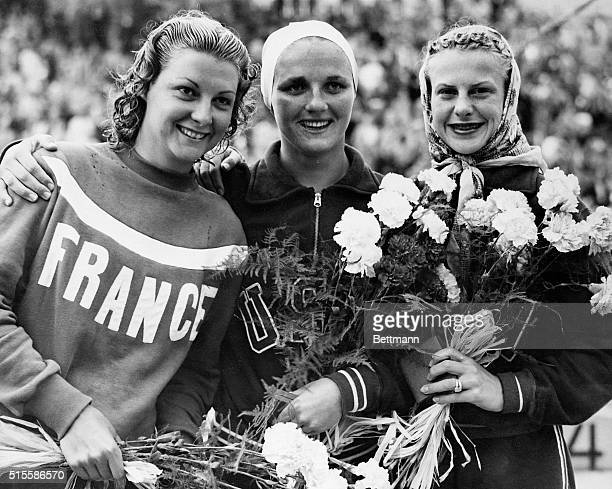 7/30/1952Helsinki Finland HELSINKI OLYMPICS WINNERS OF LADIES SPRINGBOARD DIVING The three winners of the ladies springboard diving event at the...