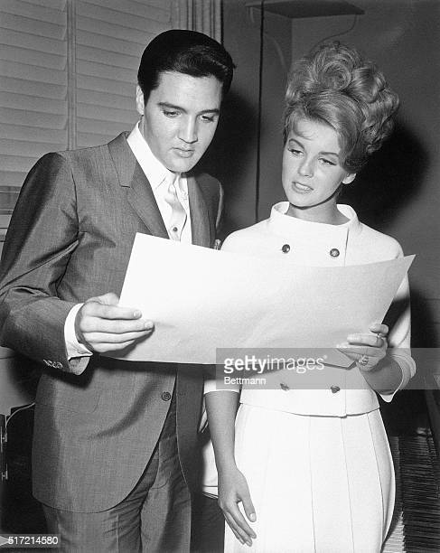 7/30/1963Los Angeles CA Elvis Presley and AnnMargret two of the most popular young stars on the screen report to MGM studios to begin rehearsing the...