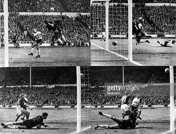 Wembley, England-: This is a four-picture sequence showing England's third controversial third goal scored by Geoffrey Hurst. The ball hit the...